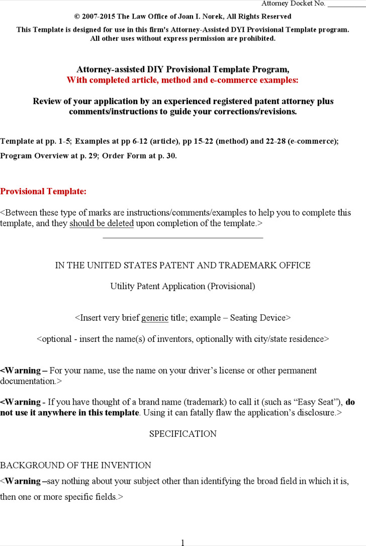 Provisional Patent Application Template Word Document Free Download