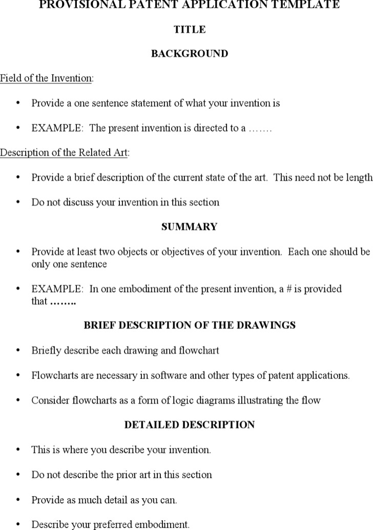 Provisional Patent Application Template Word Format Free Download