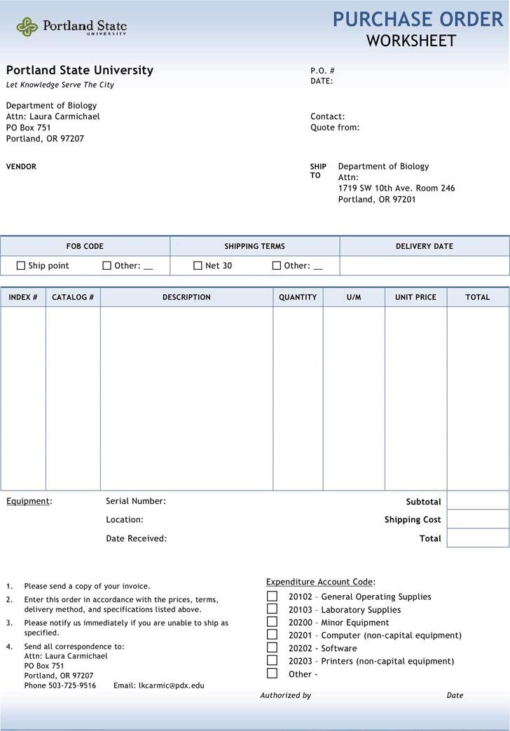 Purchase Order Worksheet