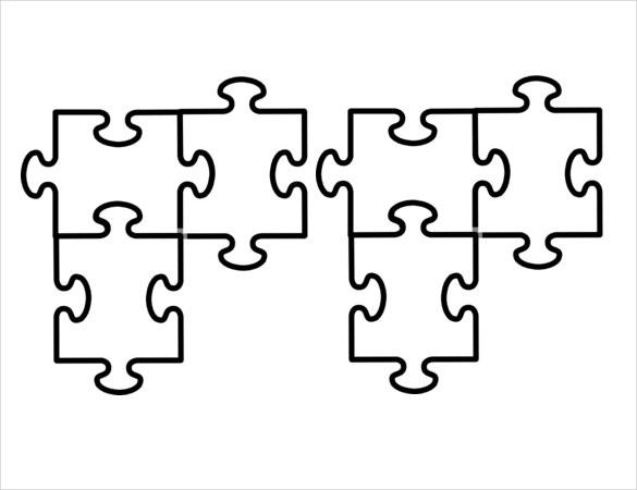 Puzzle Pieces Connected Template