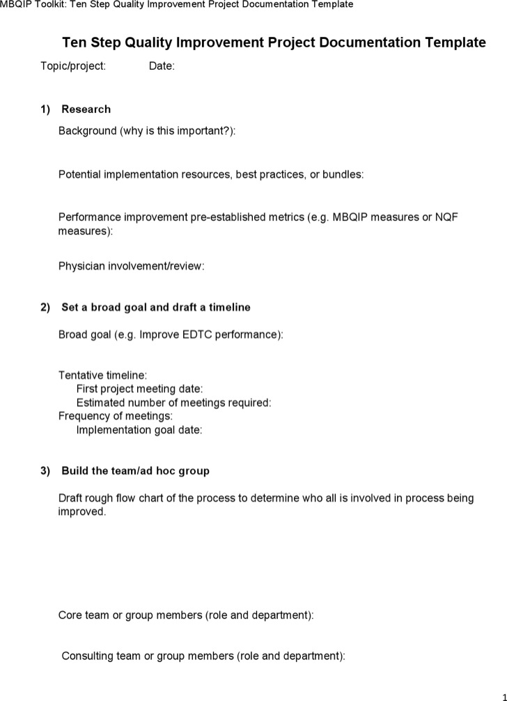 Quality Improvement Project Documentation Template