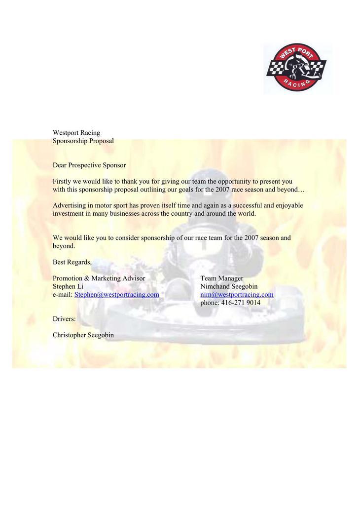Racing Sponsorship Proposal PDF Download