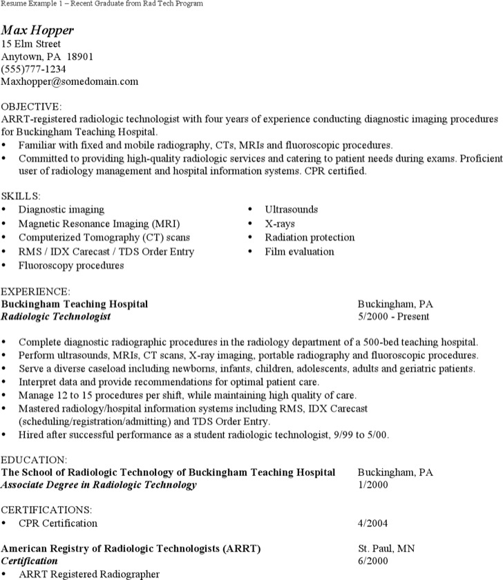 Radiologist Assistant Resume