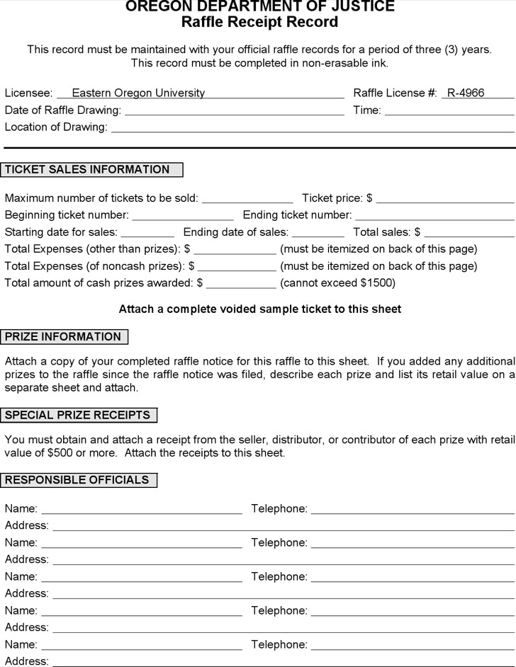 Raffle Information Sheet Template