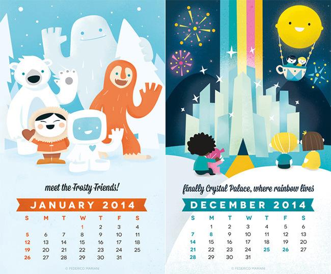 Rainbow Land Kids Calendar Template