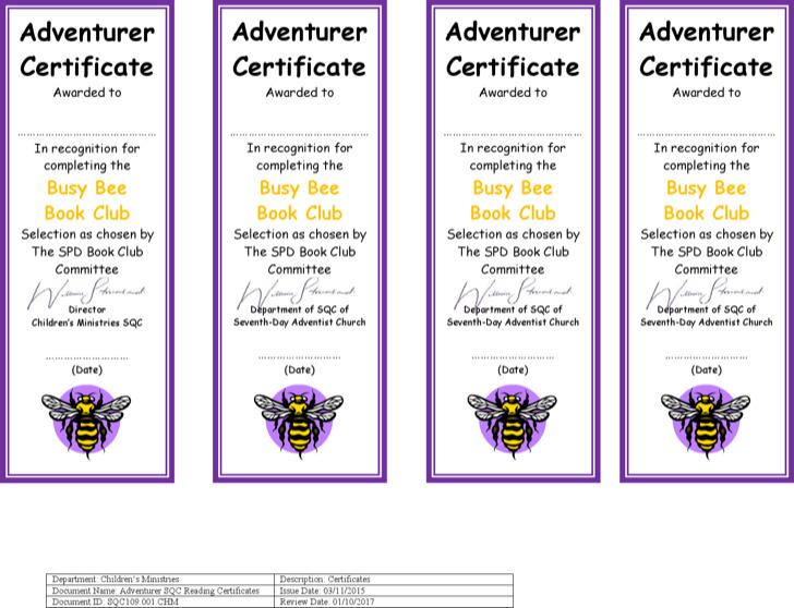 Reading Club Certificate Template