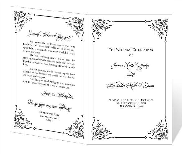 Ready To Print Wedding Program Template Download