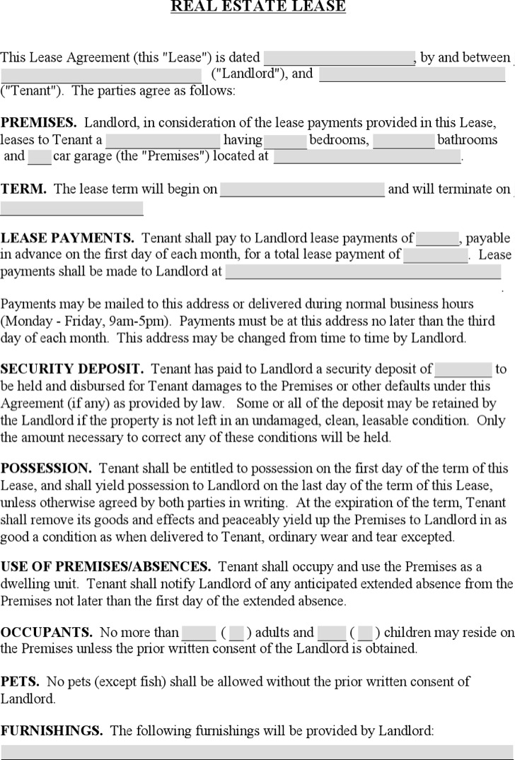 Real Estate Business Lease Template