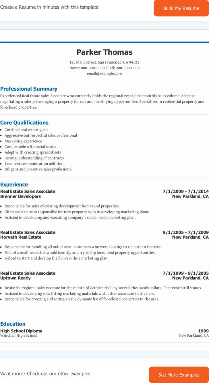 Real Estate Sales Associate Resume
