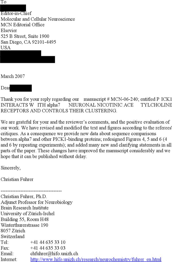 Rebuttal Response Letter