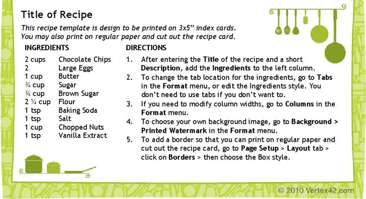 Recipe Card Template (3X5)