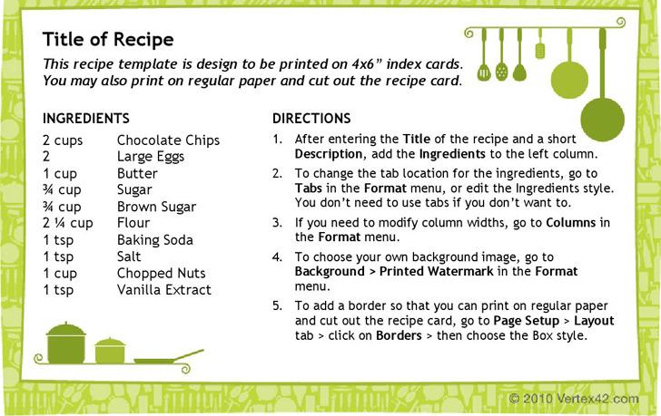 Recipe Card Template (4X6)