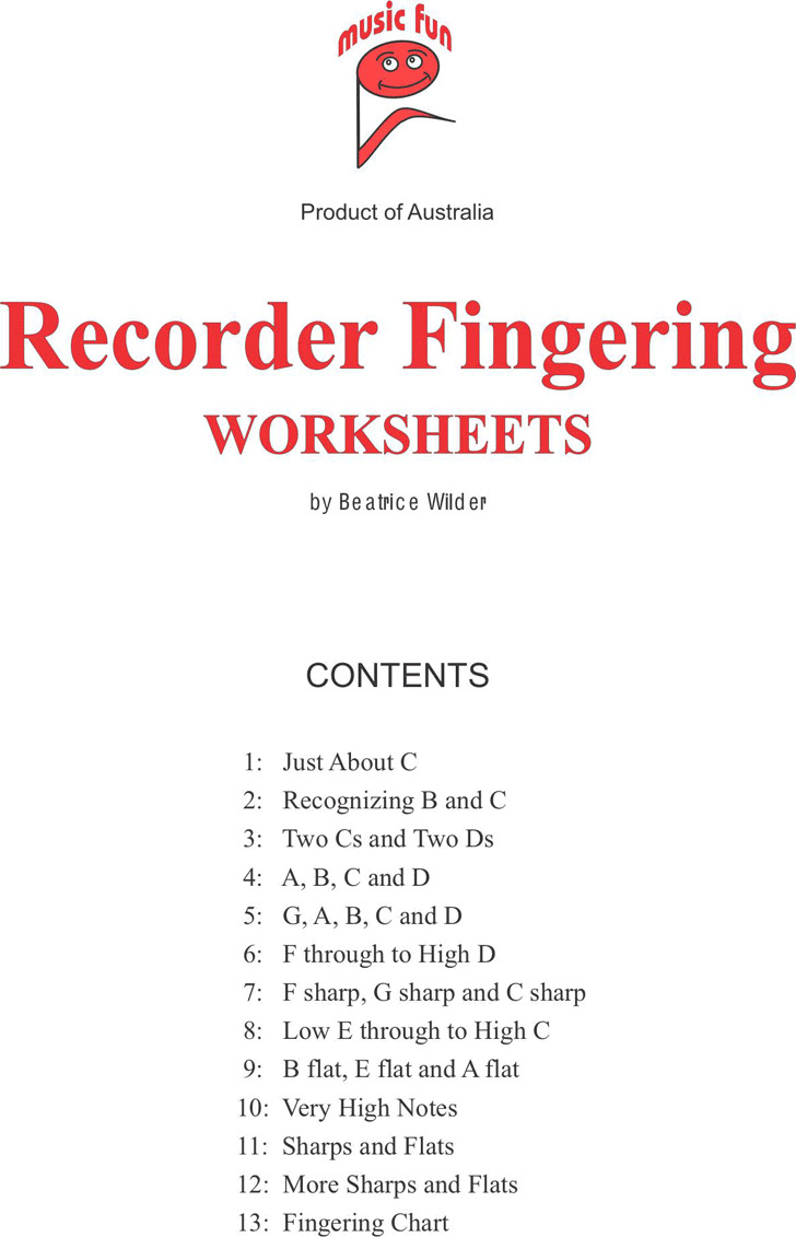 Recorder Fingering Worksheets