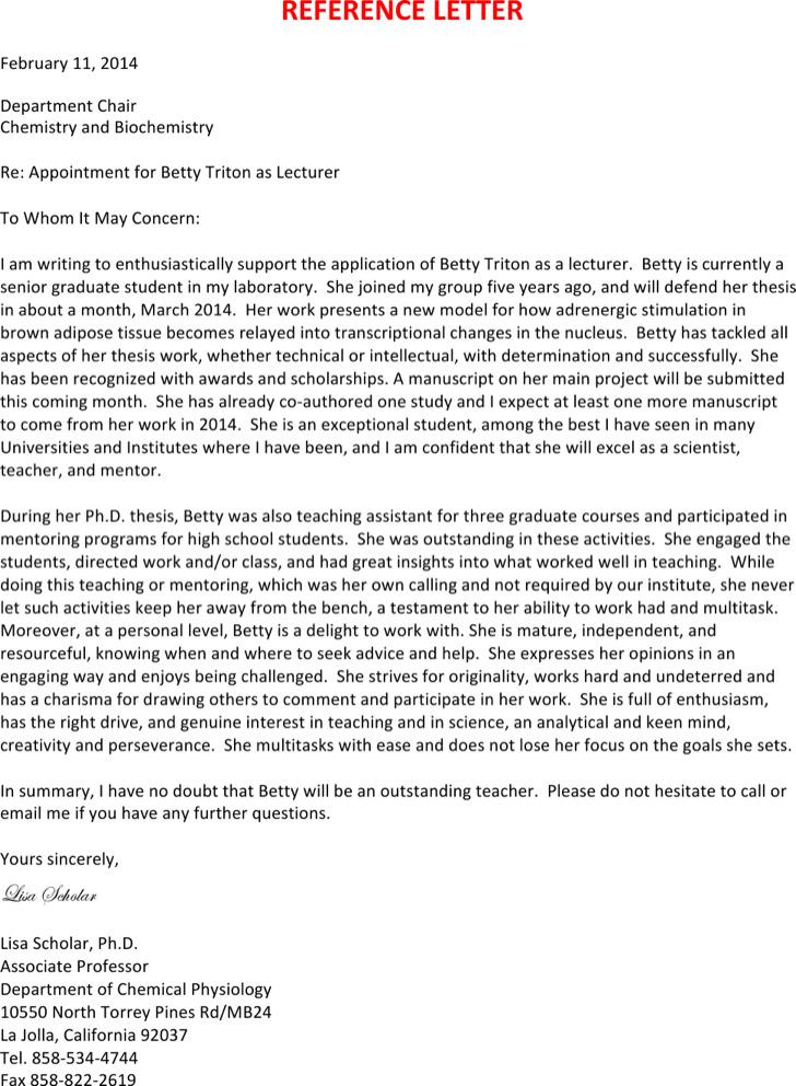 Reference Letter For Job
