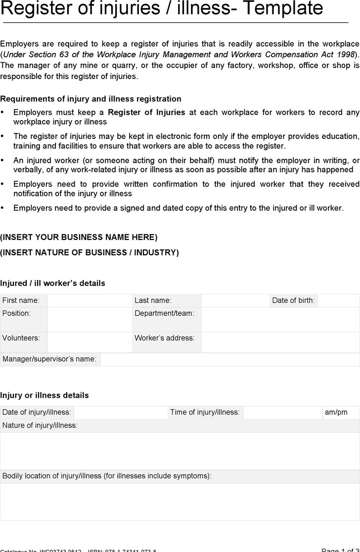 Register of Injuries Illness Template