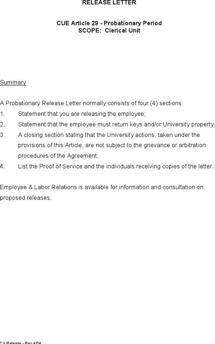 Release Letter Sample 1