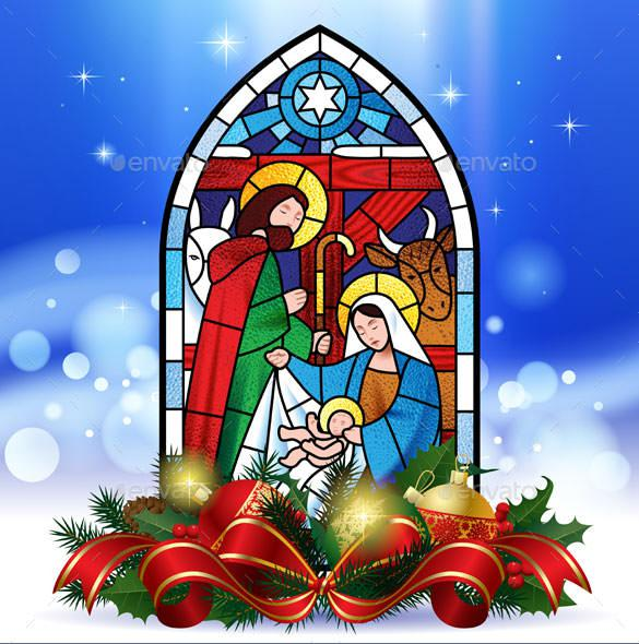 Religious Christmas Card Template EPS Download