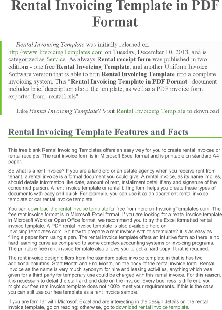 Rental Invoice Free Download Doc Format
