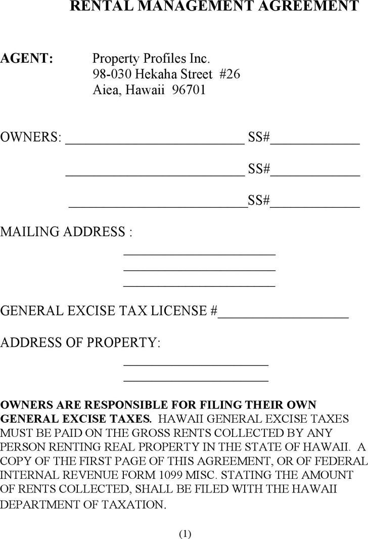 Rental Management Agreement