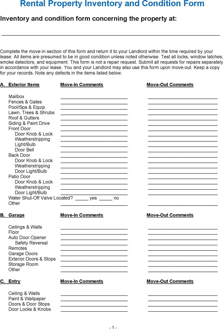 Download landlord inventory template for free tidytemplates for Inventory for rental property template