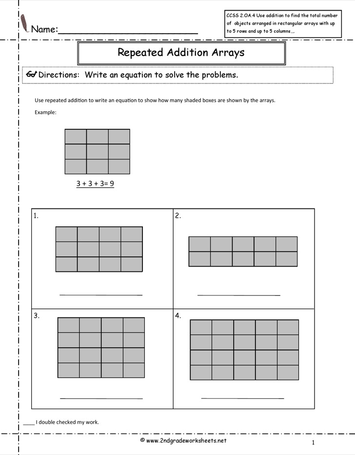 Repeated Addition Arrays Math Common Core Sheet