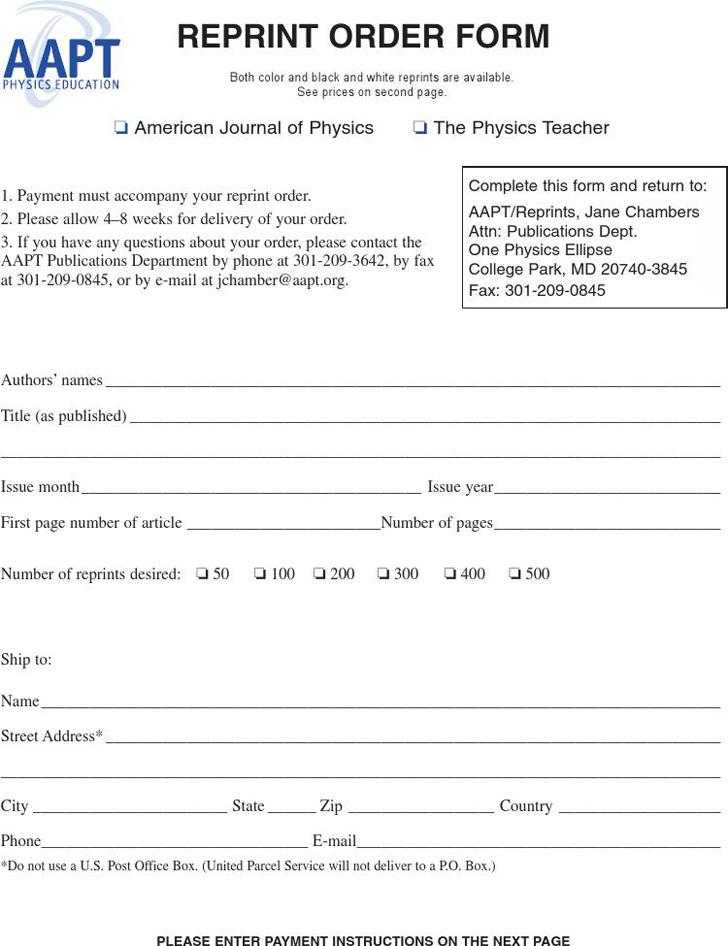 Reprint Order Form