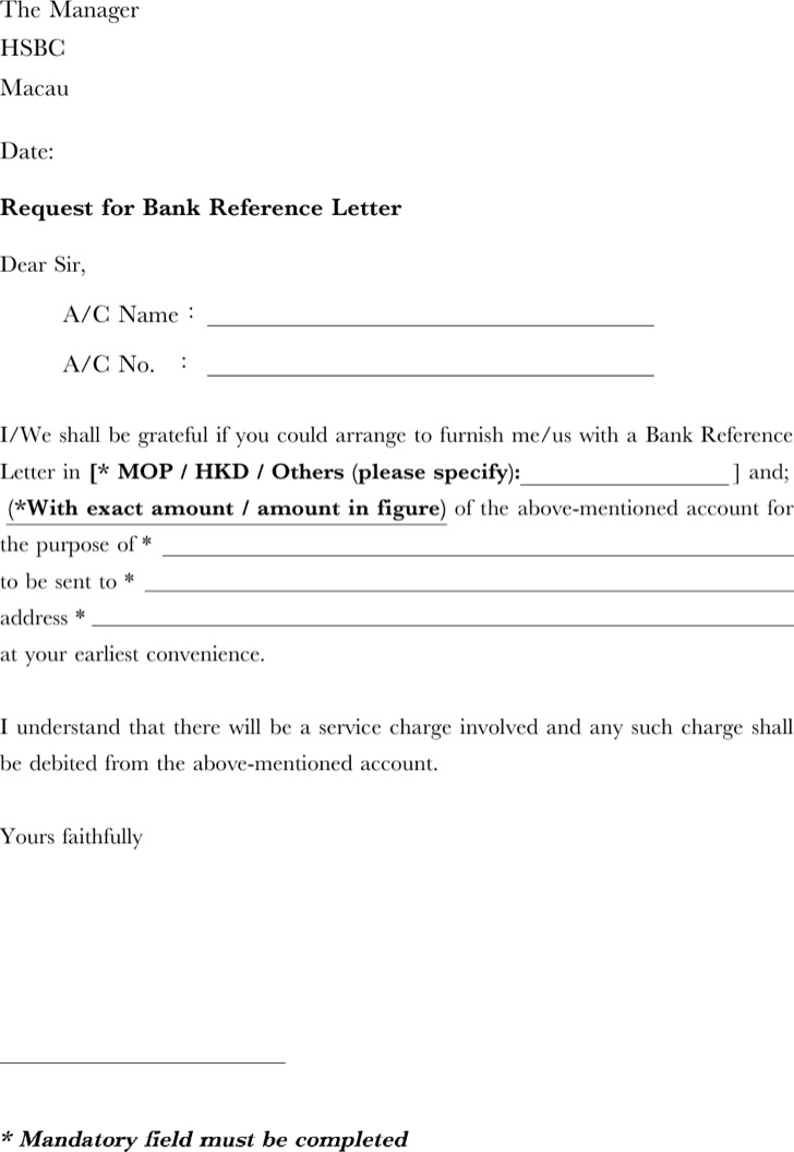 Request For Bank Reference Letter