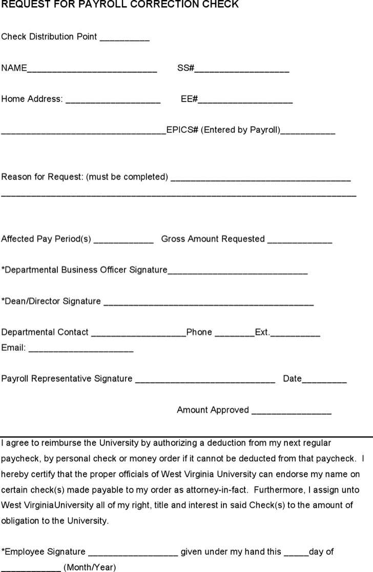 Request For Payroll Correction Check