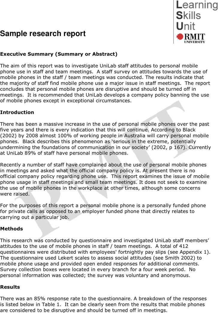 Research Report Sample 2
