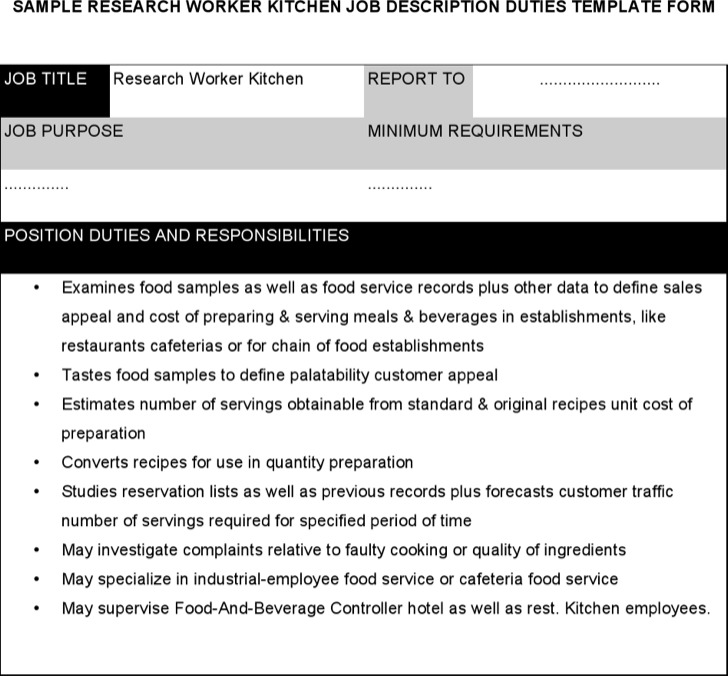 Research Worker Kitchen Job Description