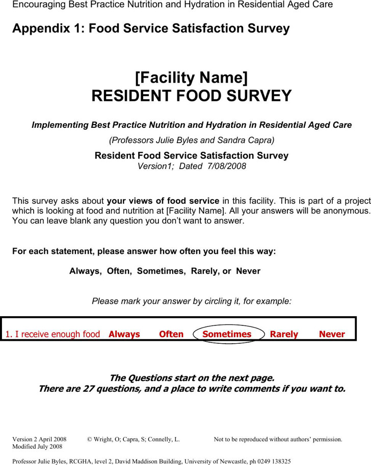 Resident Food Survey Template