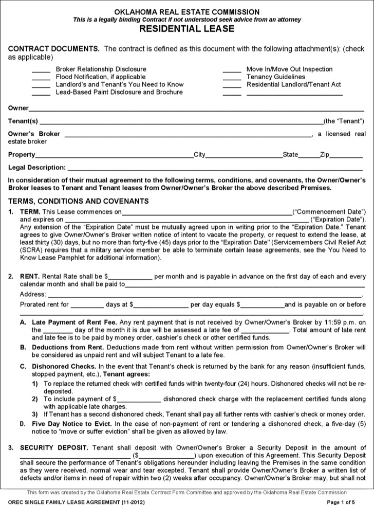 Residential Lease Contract Template