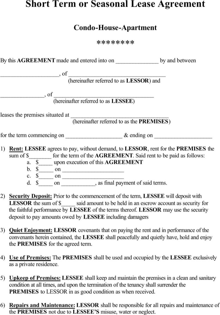 Residential Rental Agreement Template Pdf