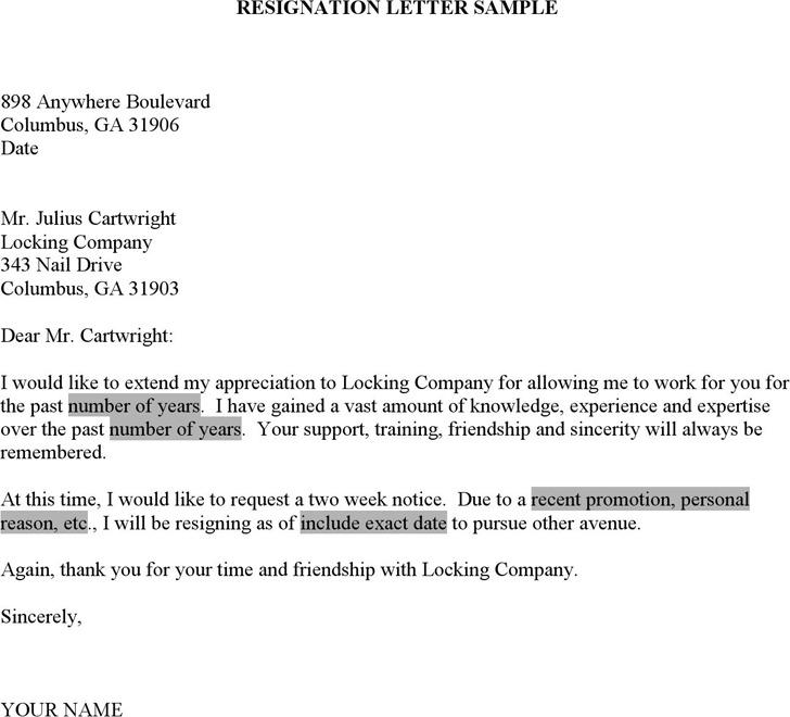 Resignation Letter Microsoft Template