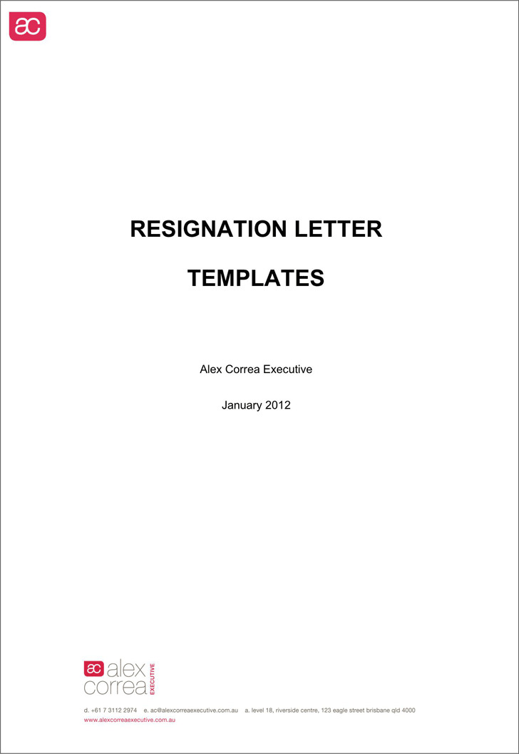 Free Letter of Resignation Template Word