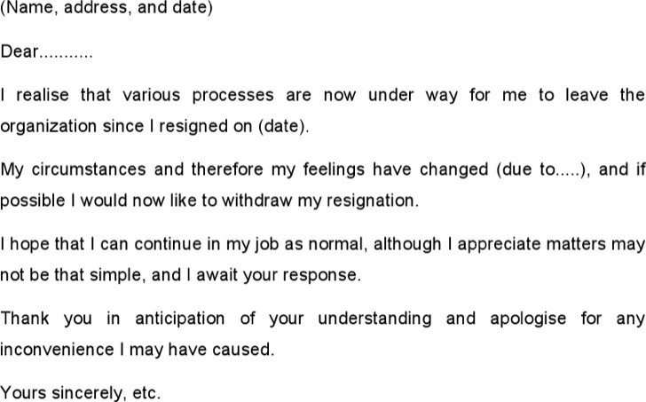Resignation Withdrawal Letter Example