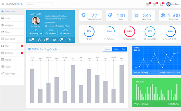 Responsive Admin Web Application Template
