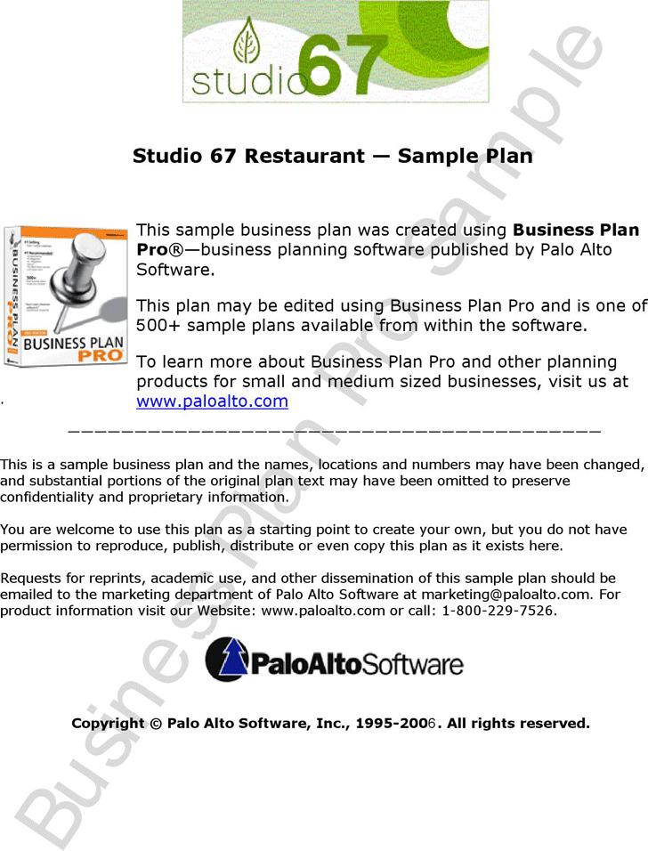 3 restaurant business plan template free download