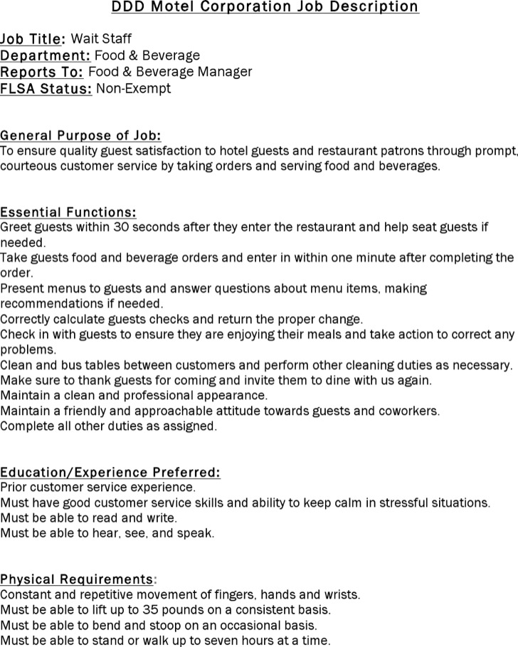 Restaurant Job Description Template