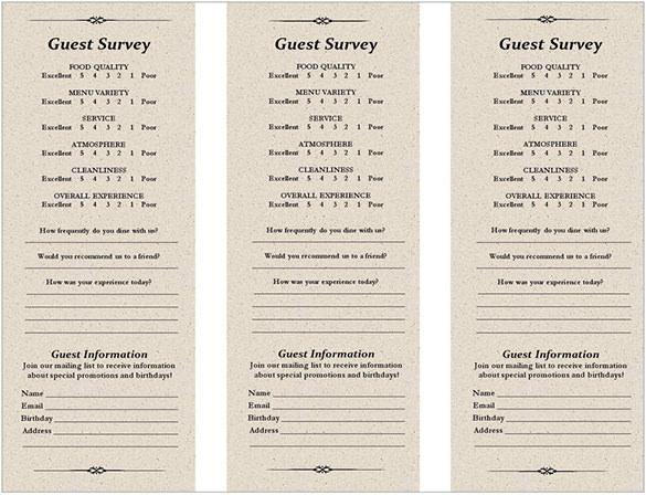 Restaurant Response Comment Card Free