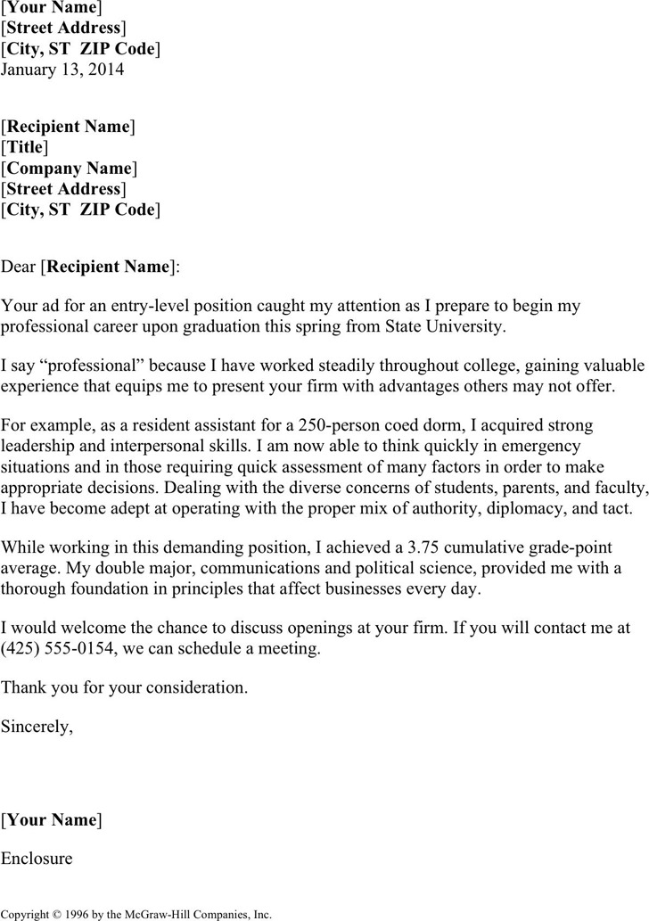 Resume Cover Letter For College Students