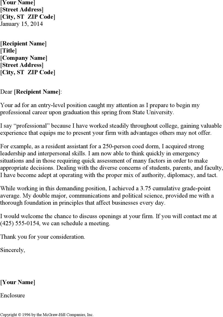 Resume Cover Letter for Entry-Level Position