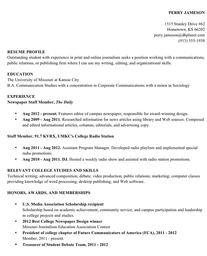 Resume Sample College Student Academic