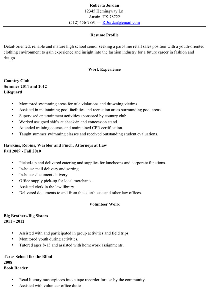 Resume Sample High School Graduate