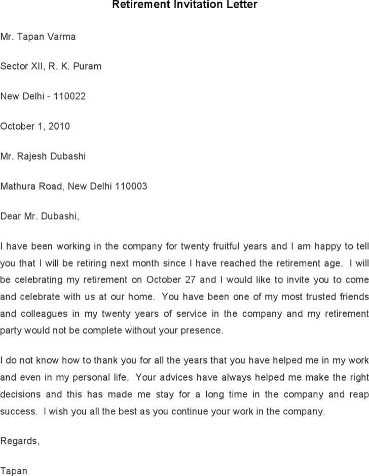 Retirement Invitation Letter Template
