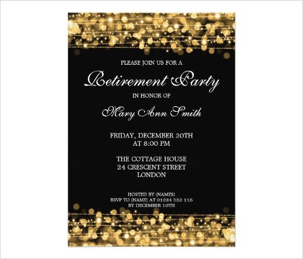 Retirement Party Invitation Template Gold Sparkles