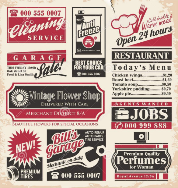 Retro Newspaper Ads Design Template Download