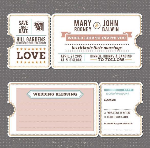 Retro Vintage Wedding Invitation Template Free Vector