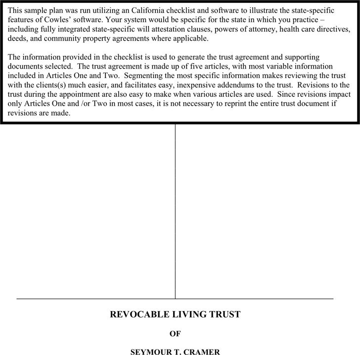 Revocable Living Trust Sample