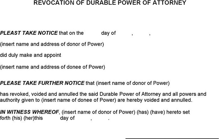 Revocation of Durable Power of Attorney